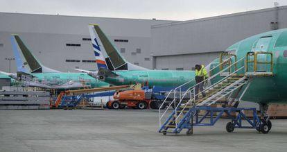 Aviões Boeing 737 Max no aeroporto de Seattle.