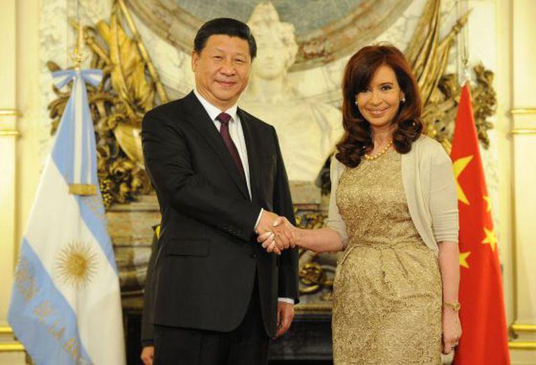 Cristina Kirchner e Xi Jinping, em julho em Buenos Aires.