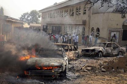 Imagem de um atentado perpetrado por Boko Haram na Nigéria.
