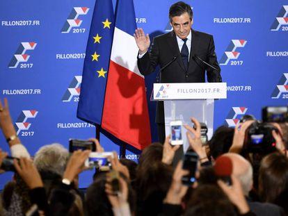 Fillon, depois de votar no domingo.