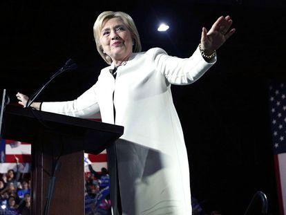 Hillary Clinton durante seu discurso na terça-feira.