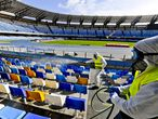Naples (Italy).- (FILE) - Operators of 'Napoli Servizi' sanitize the San Paolo stadium in Naples to prevent the dangers of contagion of Coronavirus, Naples, Italy, 04 March 2020 (reissued on 18 April 2020). According to Italian media reports the 'Artemio Franchi' in Florence could be one of the stadiums to host the rest of Serie A season if and when the Italian soccer league will get the green light to re-start after the suspension for the coronavirus COVID-19 pandemic. (Italia, Florencia, Nápoles) EFE/EPA/CIRO FUSCO *** Local Caption *** 55926858