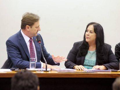 Os senadores Gurgacz e Rose de Freitas, na Comissão do Orçamento.