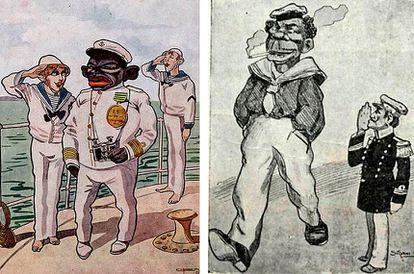 Charges de 1910 mostram que seria ridículo se negros comandassem brancos na Marinha; a imagem da direita retrata João Cândido como malandro