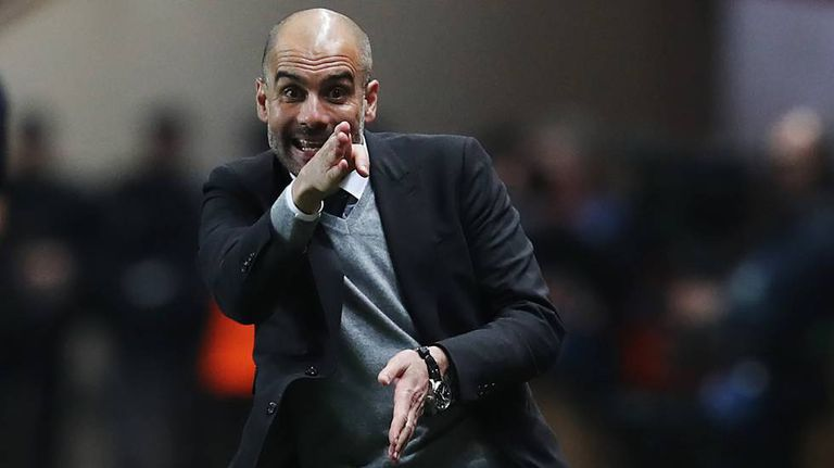 Guardiola, no jogo entre City e Monaco.