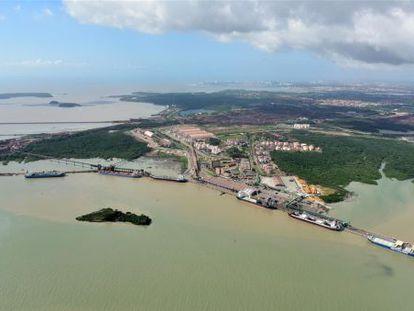 Imagem aérea do Porto do Itaqui, no Maranhão.