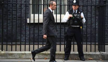 O secretário de Estado britânico para o Brexit, Dominic Raab, nesta terça-feira depois de uma reunião de gabinete.