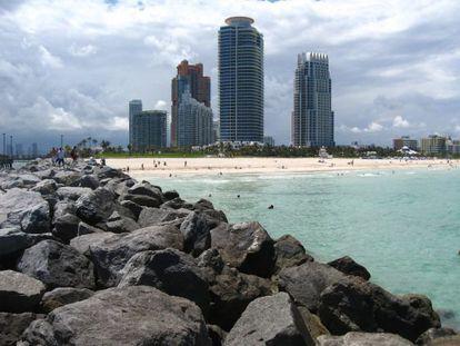 Vista do parque South Pointe em Miami.