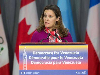 A ministra de Relações Exteriores do Canadá, Chrystia Freeland, em fevereiro