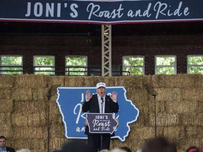 Trump, durante sua intervenção em Dê Moines.