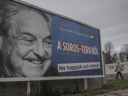 Cartaz da consulta contra George Soros do Governo húngaro próximo a Budapeste