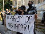 No Rio de Janeiro, o protesto contra a violência policial contra os negros no Brasil aconteceu no domingo.