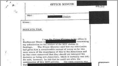 Um dos documentos em que a CIA pede o apoio clandestino da Austrália depois da eleição de Allende.