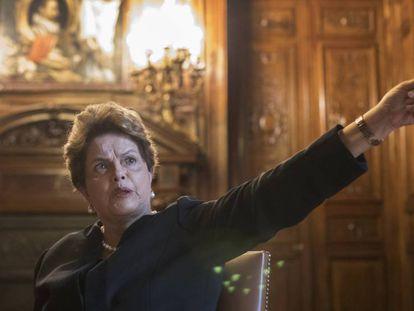 A ex-presidenta brasileira Dilma Rousseff, nesta terça-feira em Casa América de Madri.