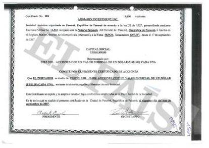 Certificado da sociedade vinculada ao ex-vice-presidente da companhia estatal petroleira do Peru.