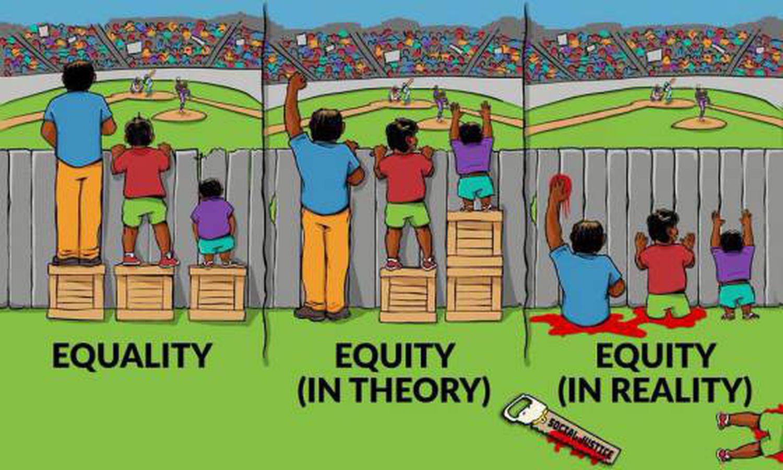 Igualdade, equidade na teoria e equidade na prática.