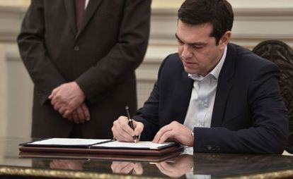 Tsipras, depois do juramento como primeiro-ministro.
