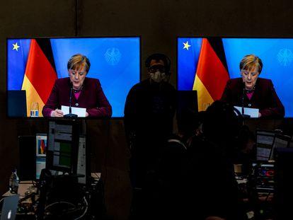A chanceler Angela Merkel faz seu discurso no congresso virtual da CDU, na sexta-feira em Berlim.