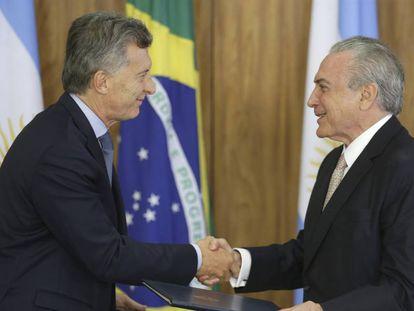 Mauricio Macri e Michel Temer, no dia 7 de fevereiro.