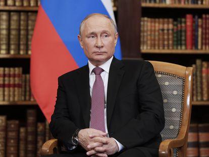 O presidente, Vladimir Putin, em um evento na Suíça em junho de 2021.