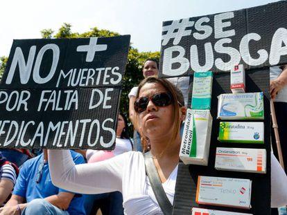 Manifestação contra a falta de medicamentos, no mês passado, em Caracas.