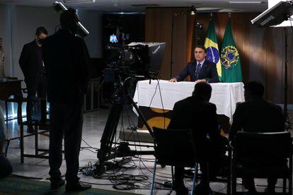 Imagem divulgada pela Presidência do Brasil mostra Bolsonaro gravando o discurso para a 75ª Assembleia Geral da ONU, em 16 de setembro.
