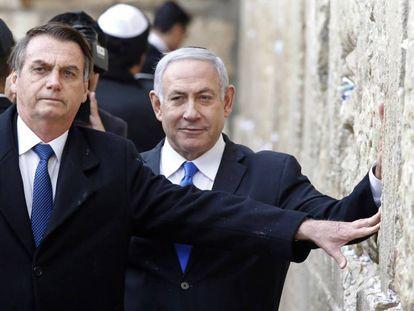 Bolsonaro e Netanyahu no Muro das Lamentações.