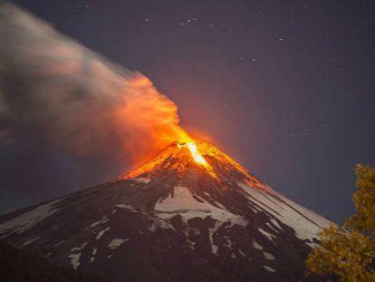 A erupção do vulcão Villarrica.