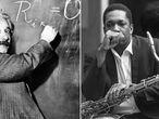 O cientista Albert Einstein, em 1931 (esquerda) e o músico de jazz John Coltrane, em 1966