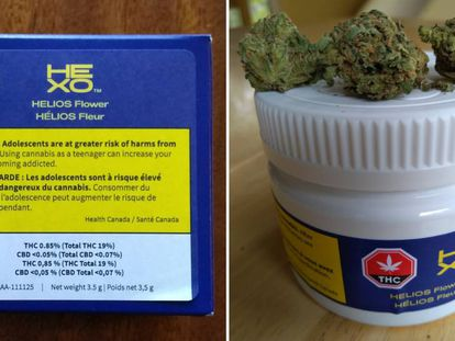 Maconha comprada legalmente no Canadá. A caixa alerta sobre seu uso por adolescentes, por causa do risco de dependência