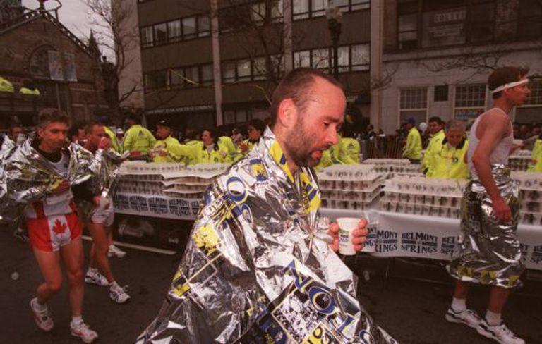 """""""Finisher"""" da maratona de Boston."""