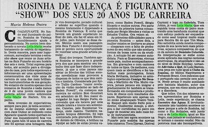 """Crítica musical do show de Leila Maria no Jornal do Brasil. Ela é comparada ao Rio Negro, enquanto Rosinha de Valença seria o rio Solimões. """"Não dá pororoca, mas são incompatíveis""""."""