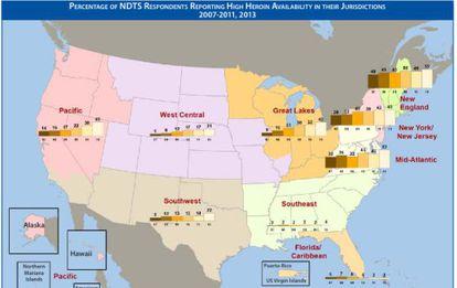Mapa com a presença da heroína nos Estados Unidos