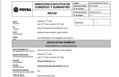 Pagamento da palestina POGC Petroleum and Energy FZ-LLC à estatal venezuelana.