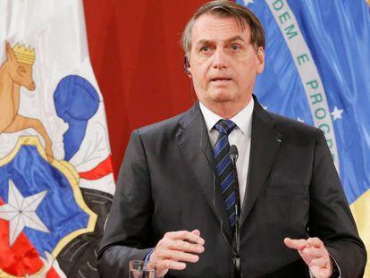 Bolsonaro durante visita ao Chile, em 23 de março.