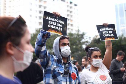 Manifestação contra as queimadas na Amazônia realizada em São Paulo em agosto de 2019.