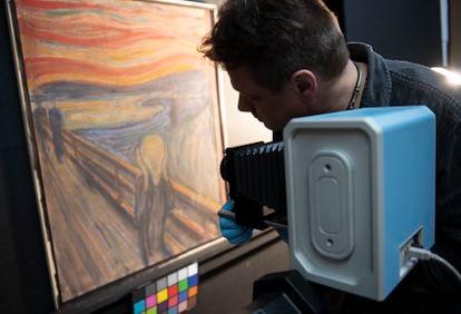 Pesquisador faz foto em infravermelho do quadro 'O grito', de Edvard Munch.