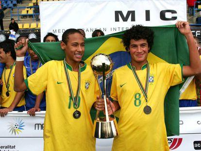 Neymar e Philippe Coutinho na Copa Internacional do Mediterrâneo em 2008.