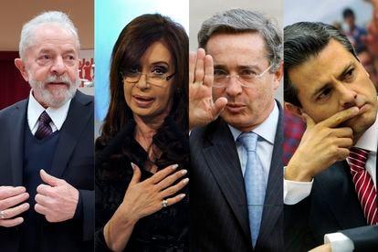 De esquerda para a direita, os ex-presidentes Lula, Cristina Fernández, Álvaro Uribe e Enrique Peña Nieto.