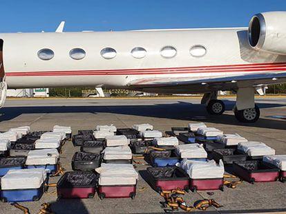 O avião em que a Polícia Federal encontrou 1.304 quilos de cocaína.