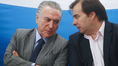 Temer e Maia no Rio, no dia 15.