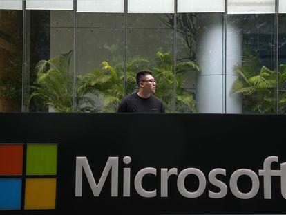 A sede da Microsoft em Pequim, nesta terça-feira.