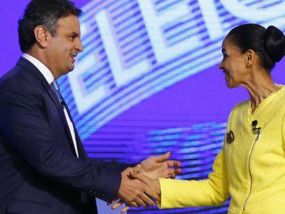 Marina Silva e Aécio Neves durante o debate.