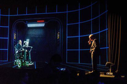 Stephen Hawking aparece como um holograma em uma conferência realizada em Hong Kong em 2017.
