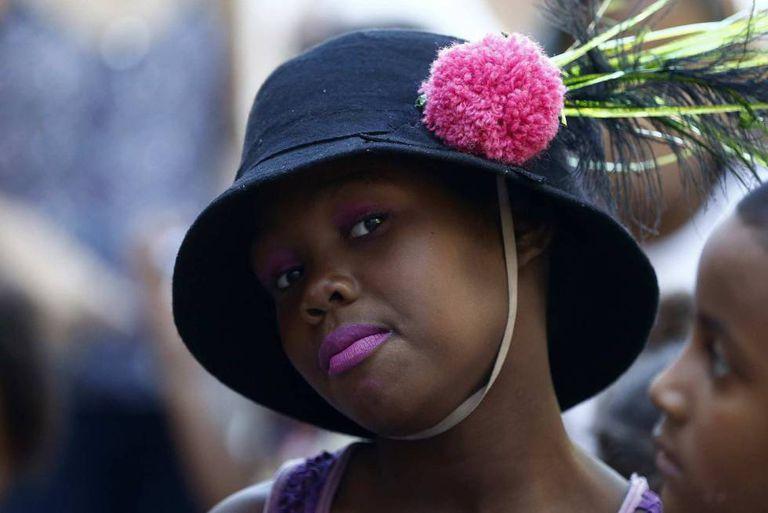 Uma menina do Complexo da Maré, na Zona-Norte do Rio, no dia 20 de março.