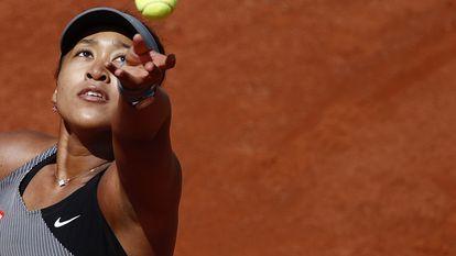 Osaka durante partida da primeira rodada em Roland Garros, no último domingo.
