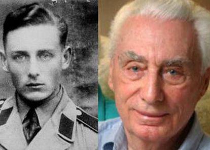 Duas imagens de Helmut Oberlander que pertencem ao Centro para Israel e Assuntos Judaicos: com uniforme militar, durante a Segunda Guerra Mundial; e na velhice.
