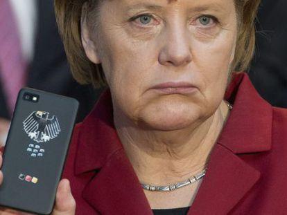 Angela Merkel com um celular.