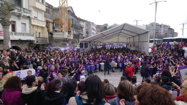Manifestação feminista em Vigo (Espanha) no domingo passado.