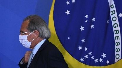 Paulo Guedes durante evento no Palácio do Planalto em 27 de setembro.